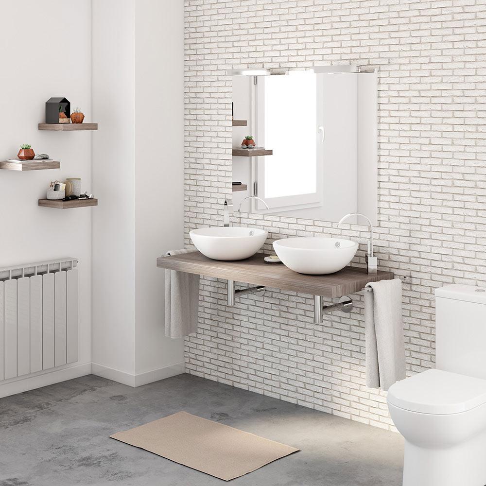 Mueble de lavabo baldas nature ref 17886344 leroy merlin for Lavabo leroy merlin