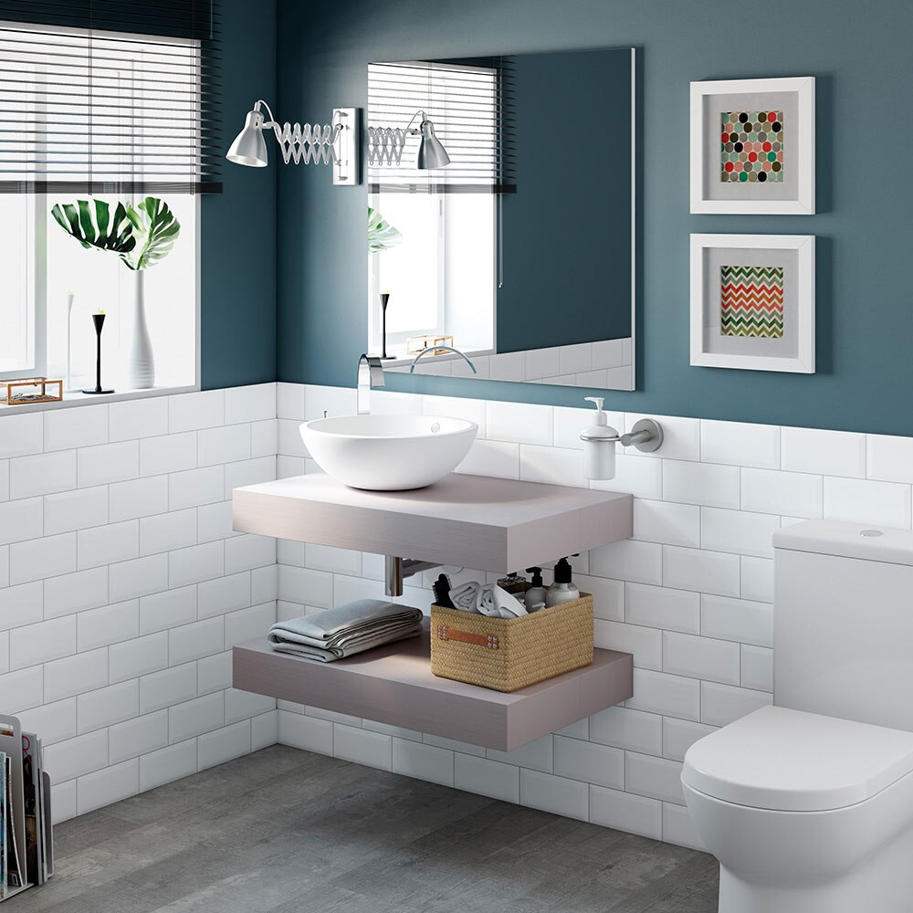 Mueble de lavabo baldas nature ref 17886372 leroy merlin for Mueble lavabo 50 ancho
