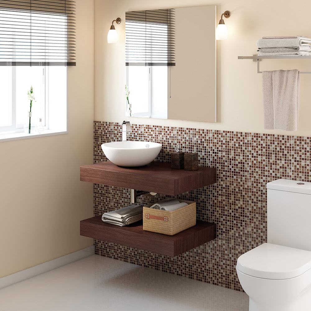 Mueble de lavabo baldas nature ref 17886484 leroy merlin for Baldas para bajo lavabo