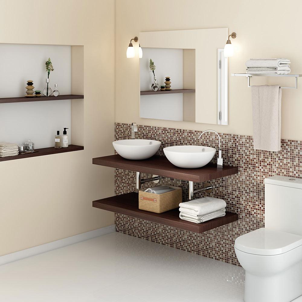 Mueble de lavabo baldas nature ref 17886974 leroy merlin - Baldas para bajo lavabo ...