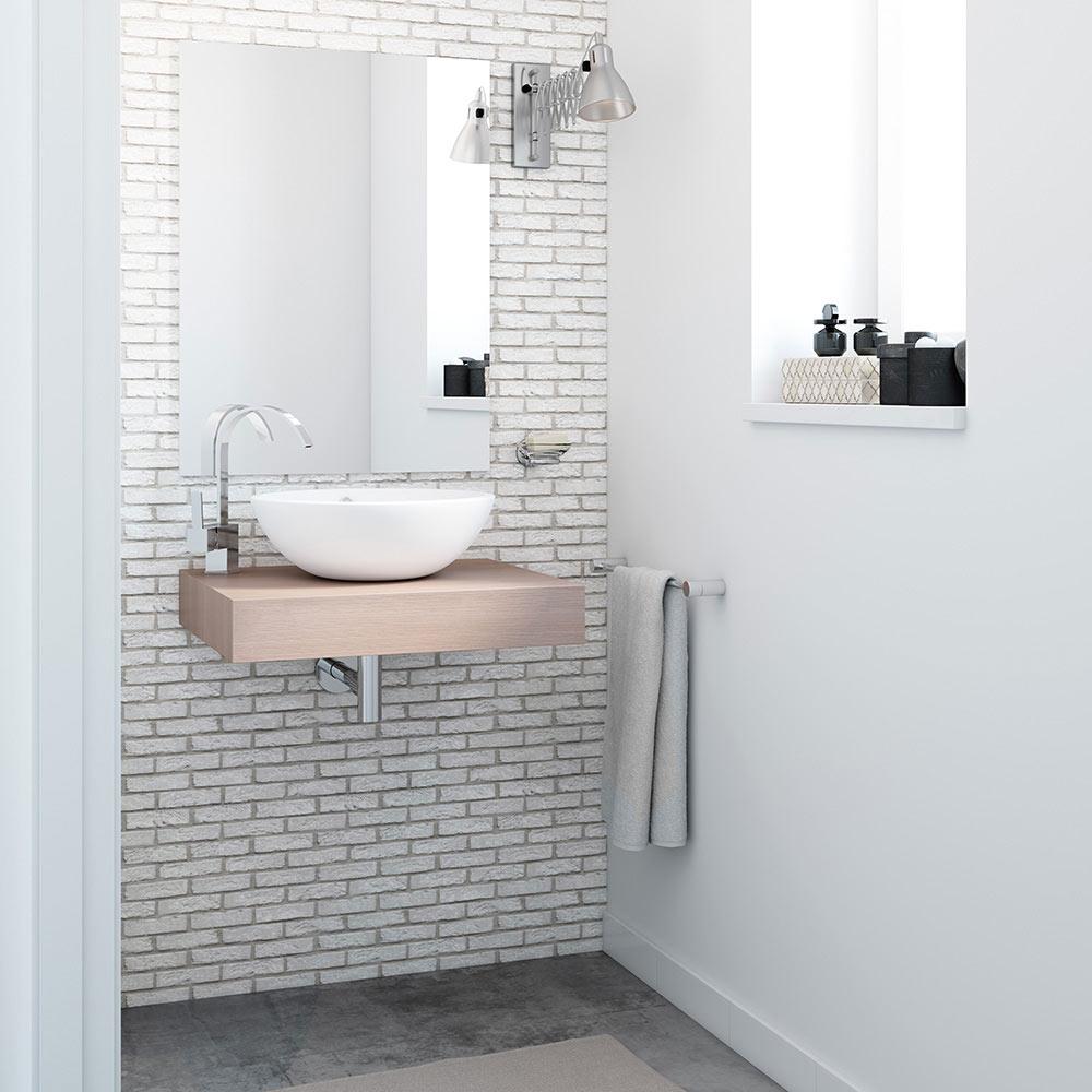 Mueble de lavabo baldas nature ref 17887044 leroy merlin - Lavabos de cristal leroy merlin ...