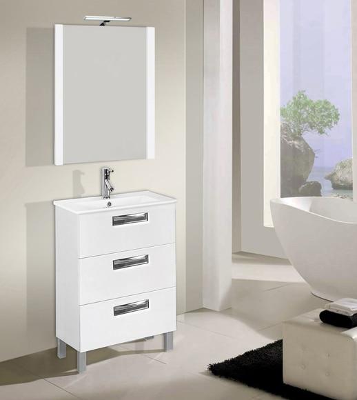 Conjunto de mueble de ba o londres 60 blanco ref for Muebles de bano 60 x 45