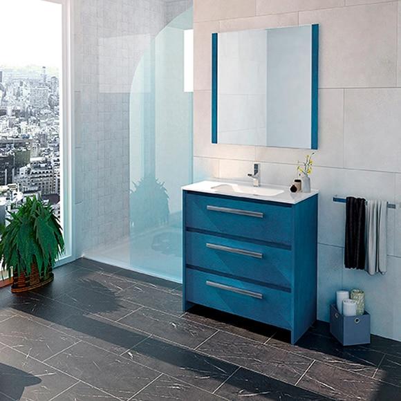 Conjunto de mueble de ba o aral 70 cm azul ref 19962012 for Mueble recibidor 70 cm