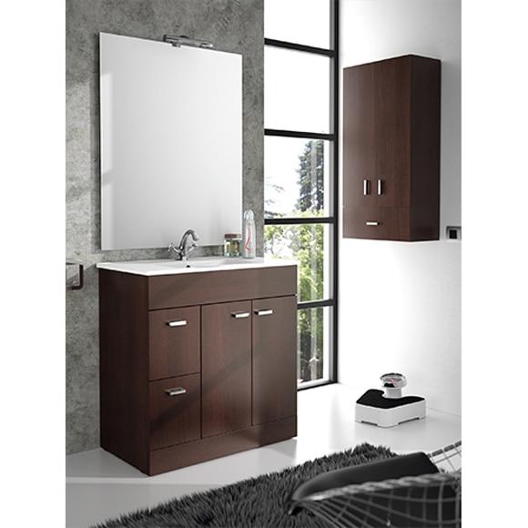 Mueble de ba o motion 2c 2p 70cm wengu ref 81867453 for Mueble lavabo desague suelo