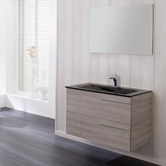Conjunto de mueble de ba o messina 90 gris lavabo negro ref 18790324 leroy merlin - Mueble bano negro ...