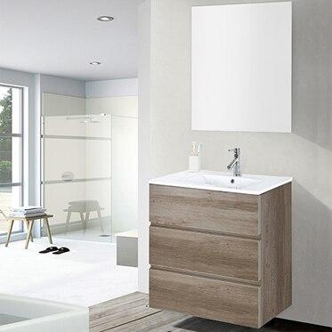 Conjunto de mueble de ba o orlando 60 roble claro ref for Muebles de bano 60 x 45