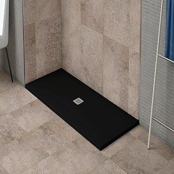 plato de ducha resina negro 160x70 ref 81908211 leroy. Black Bedroom Furniture Sets. Home Design Ideas