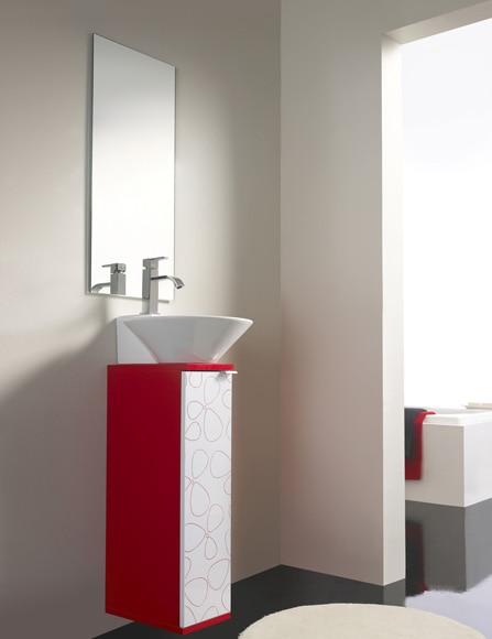 Conjunto de mueble de ba o biarritz 20 rojo ref - Muebles de bano rojos ...