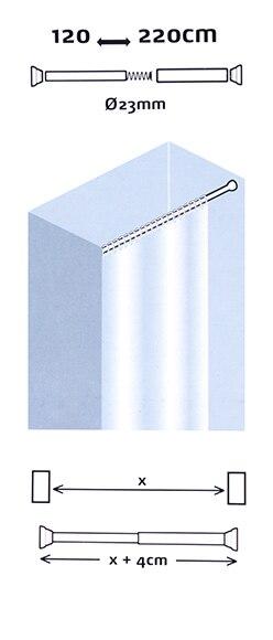Barra para la cortina de la ducha sensea extensible ref - Barras cortinas leroy merlin ...