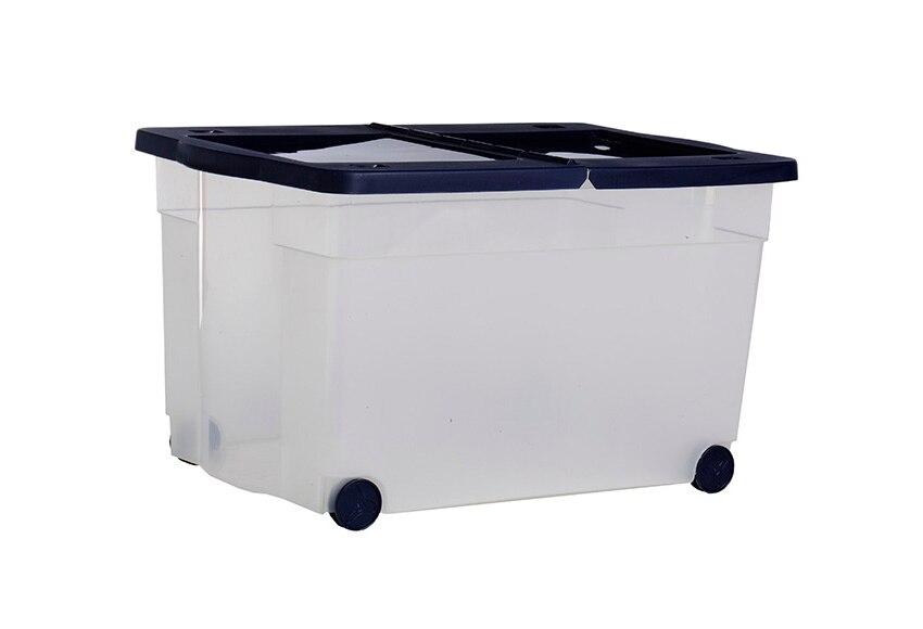 Caja de pl stico con ruedas roller azul oscuro ref - Cajas de plastico con ruedas ...
