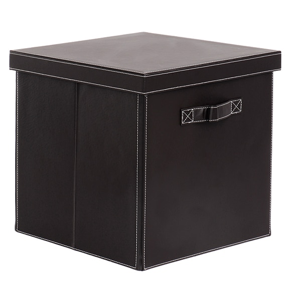 Cesta de polipropileno caja pvc estilo cuero 32x32x32 cm for Leroy cajas ordenacion