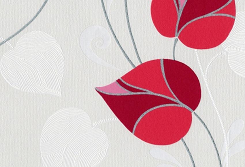 Papel pintado floral bj levante gris rojo ref 17199336 - Papel pintado coruna ...