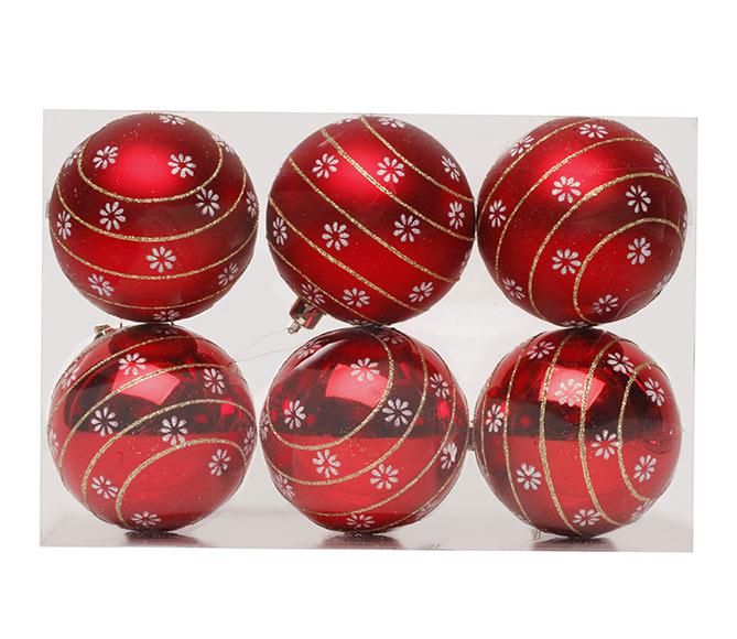 d378ae978a1 Set de 6 bolas rojas con motivos navideños de 8cm Ref. 17703665 ...