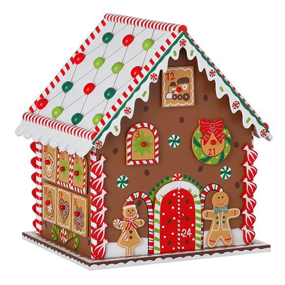 Calendario de adviento en forma de casa de 20x27x23cm ref - Calendario adviento madera ...