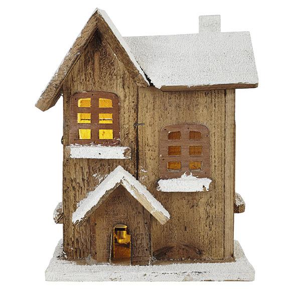 caba a de madera nevada con luz ref 17698660 leroy merlin