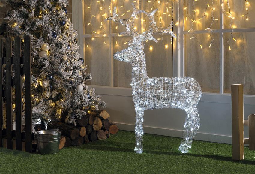 Figura de reno transparente led 120cm ref 15911770 - Renos de navidad con luces ...