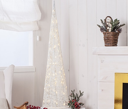 Cono blanco con luces 120cm ref 16434523 leroy merlin for Luces de navidad leroy merlin