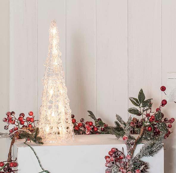 Cono blanco con luces 40cm ref 17017644 leroy merlin for Luces de navidad leroy merlin