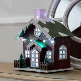 Casita navideña con luces LED de 22,5x15x5,5cm