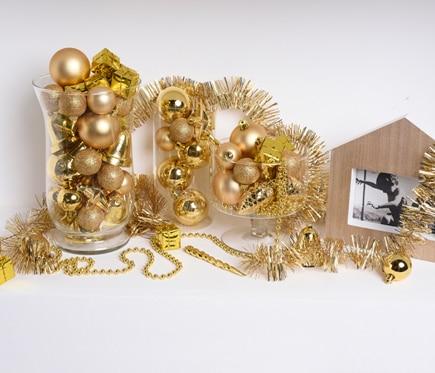 surtido de 100 adornos navide os en dorado ref 15241905