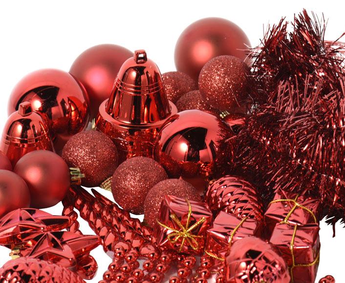 surtido de 100 adornos navide os en rojo ref 15242381