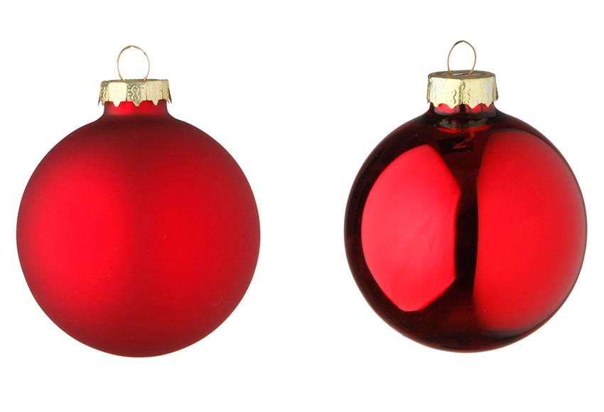 Surtido de 6 bolas navide as rojas de 8cm ref 16992626 for Arbol de navidad con bolas rojas