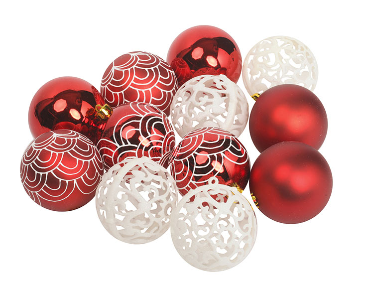 c061a45831f Set de 12 bolas rojas decorativas de 8cm Ref. 18808475 - Leroy Merlin