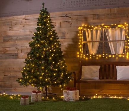 Rbol de navidad de 210 cm y 380 luces imperial iluminado for Luces de navidad leroy merlin