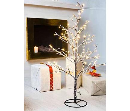 Mini rbol de navidad 90 cm con 120 luces led nevado ref for Luces de navidad leroy merlin