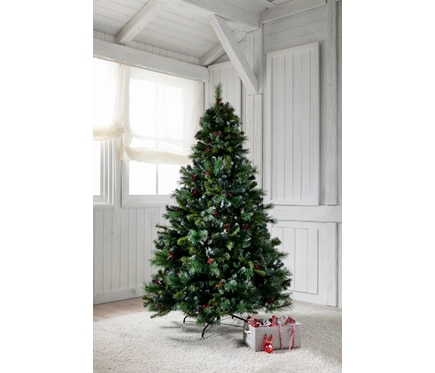 Arbol De Navidad Verde Nevado De 180cm Pinas Y Acebo Ref 14831320 - Arboles-para-navidad